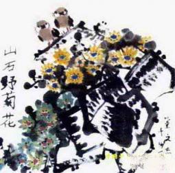 野菊花的秋天  一年级儿童画菊花