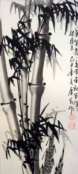 水墨写意竹子花鸟画