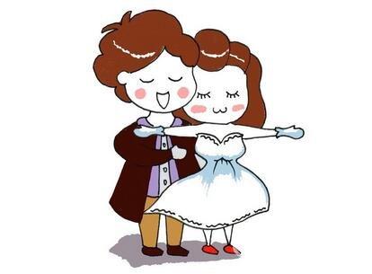 卡通人物画新郎和新娘