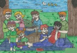 夏日野餐  暑假生活儿童画作品欣赏