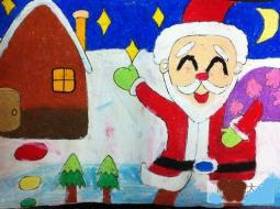 圣诞节儿童画 开心的圣诞老人