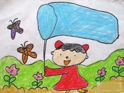 一年级春天儿童图画图片  郊外捕蝴蝶