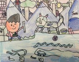 和小花猫一起捉鱼 画暑假里的画分享