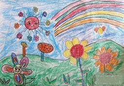 春天可爱的花朵儿童画