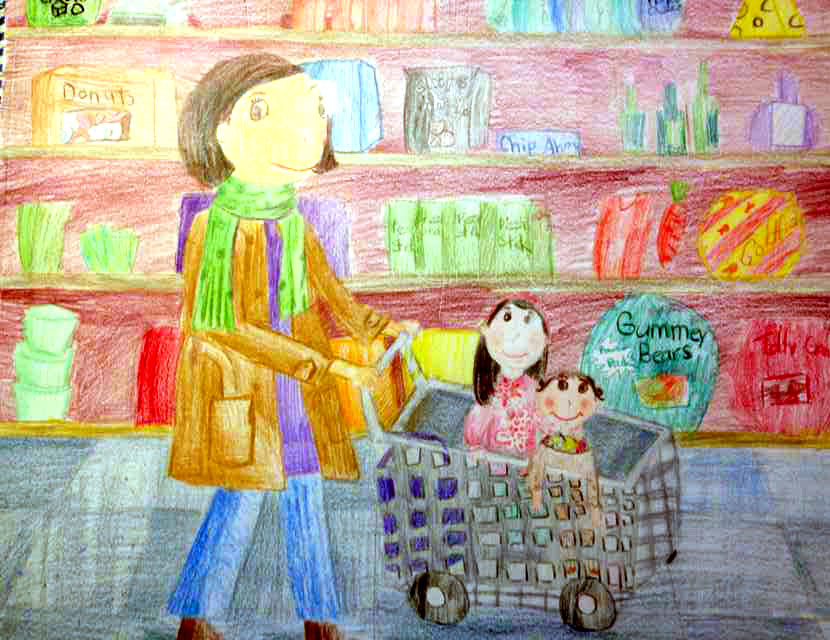 和妈妈一起去购物 儿童画妈妈,蜡笔画妈妈