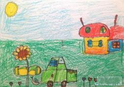 春天蜡笔画作品  公路旁的小屋
