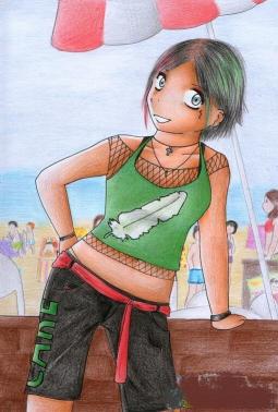 我爱放暑假  夏天人物彩铅画作品欣赏