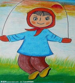 冬天跳大绳啦  关于冬天的儿童画