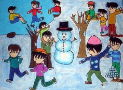 欢乐的海洋  儿童画我眼中的冬天