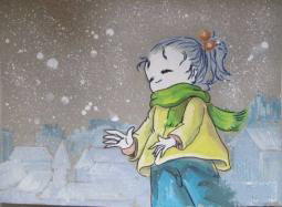 冬天的小女孩  儿童画作品欣赏