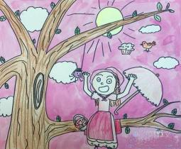 暑假爬树记  夏天人物绘画作品欣赏