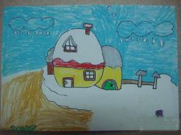 大地盖上了白被子  冬天的景色儿童画