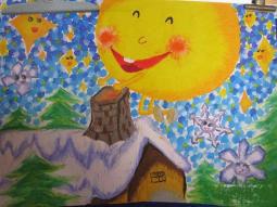 冬天的太阳暖暖的  儿童画冬天的一幅画