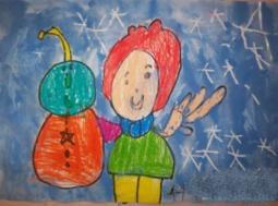 不一样的小雪人  儿童画我眼中的冬天