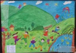 优秀的春天儿童画  放风筝