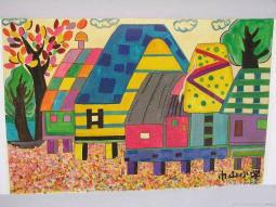 优秀儿童画作品欣赏  秋天的房子
