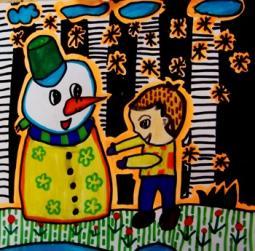 冬天的校园  校园生活儿童画