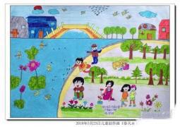 春天公园场景儿童画画图片