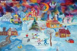 一起滑雪啦  儿童画作品冬天滑雪