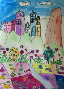 美丽的秋景  儿童画秋天的图画