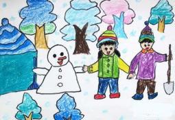 我和伙伴堆雪人  九岁关于雪的儿童画