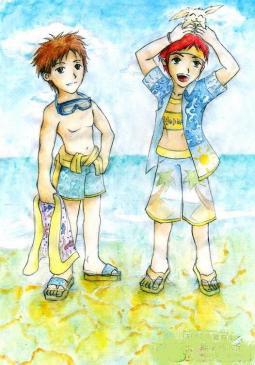 去海边游泳  暑假活动画图片赏析