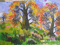 枫叶红了  儿童画秋天的图画