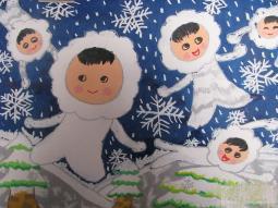 冬天的小精灵  冬天的景色儿童画