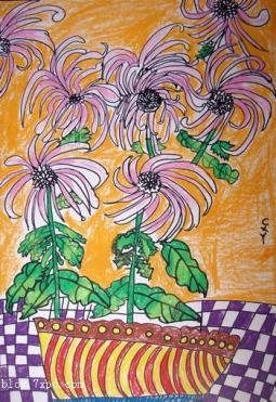 秋天菊花儿童画  盛开的菊花
