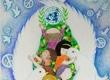 战争和平主题儿童画-在和平鸽的怀抱里