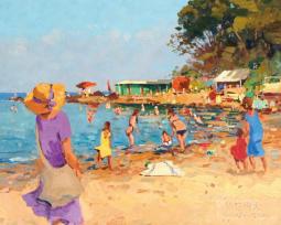 夏天真热闹儿童画  沙滩的风景