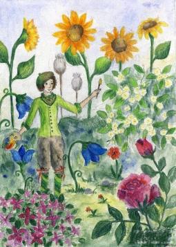 夏日的花园  夏天绘画图片欣赏