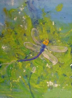夏日里的小蜻蜓  油画夏天的画分享