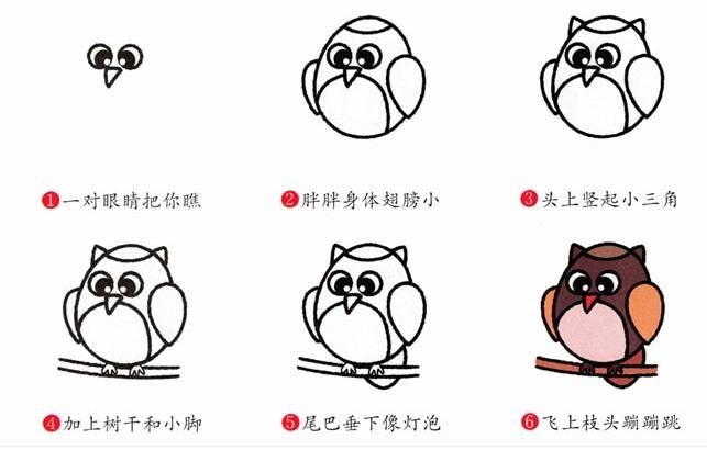 五种猫头鹰简笔画画法