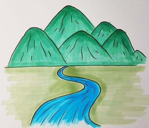 高山流水简笔画步骤