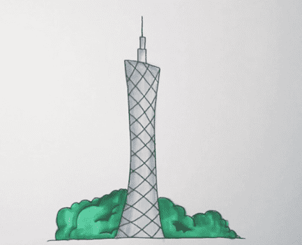 广州塔怎么画_广州塔简笔画画法步骤教程