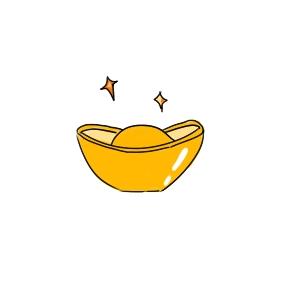 新年财神爷的金元宝简笔画怎么画?