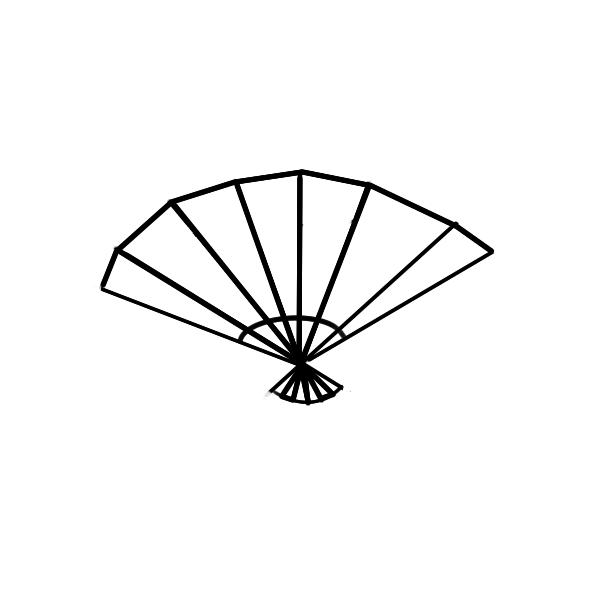 一把扇子的简笔画成品图:   一把扇子步骤4   一把扇子步骤5   好
