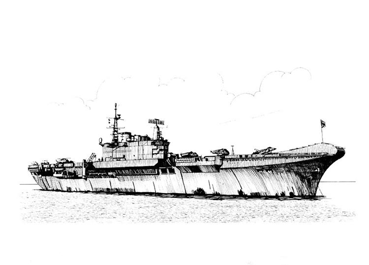 帅气的航空母舰简笔画图片