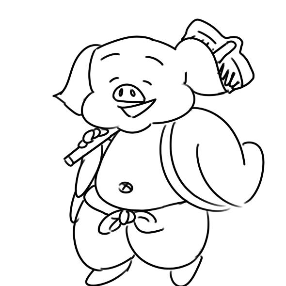 胖乎乎的猪八戒简笔画怎么画?