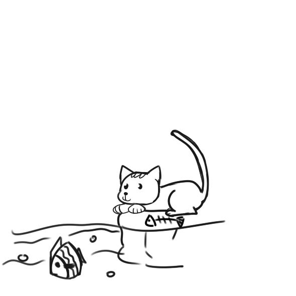 可爱的小猫抓鱼简笔画原创教程步骤