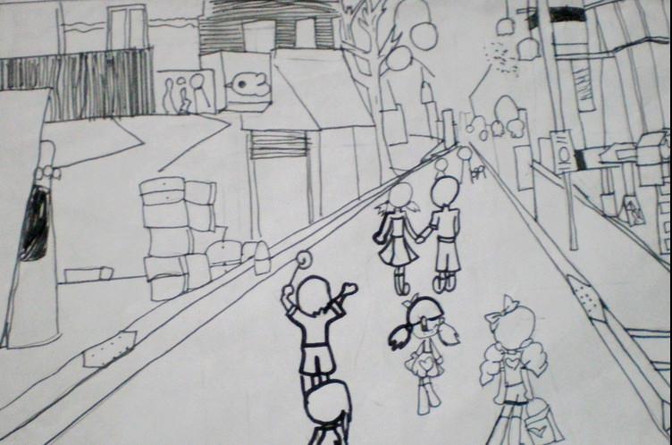 放学回家的小朋友简笔画 小女孩简笔画 - 9252儿童网