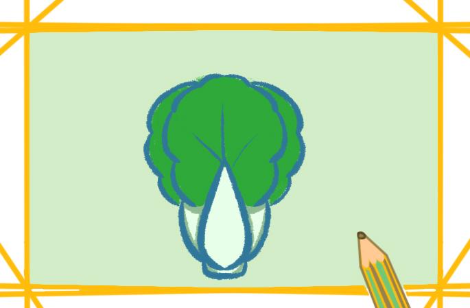 碧绿的青菜上色简笔画要怎么画?