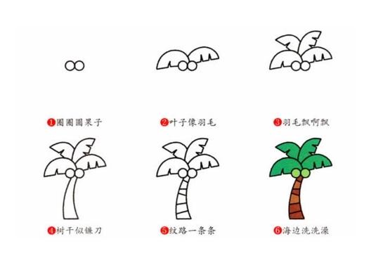 6种椰子树简笔画画法