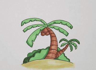 椰子树简笔画画法步骤教程