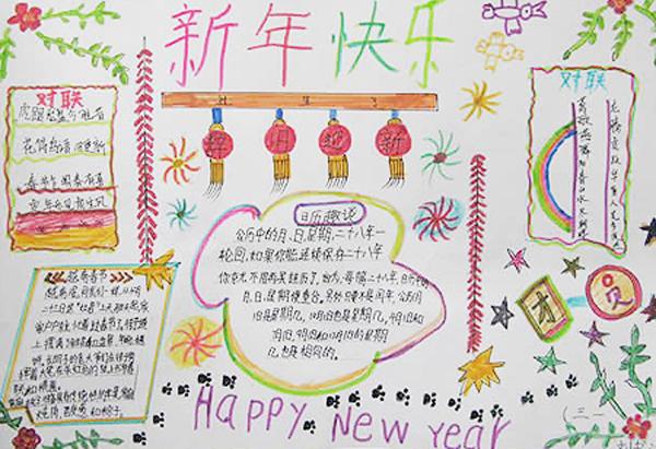 小学生春节手抄报图片,新年快乐