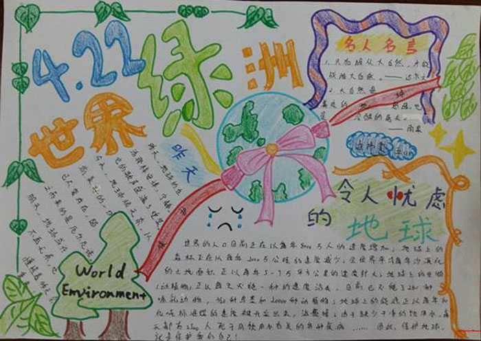 世界地球日手抄报,世界绿洲 世界节日手抄报