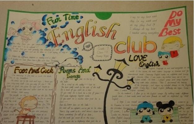 关于英语手抄报内容,我爱学英语 科目手抄报