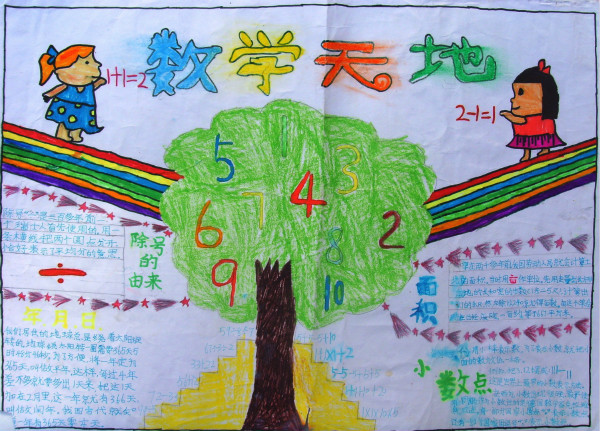 三年级数学手抄报,数学天地