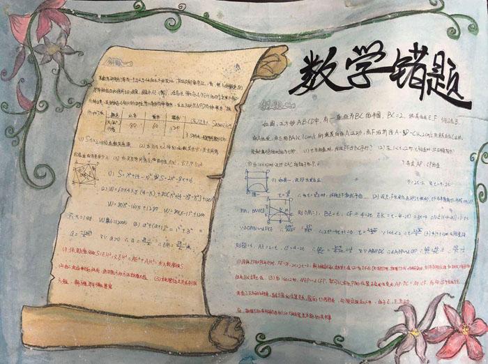 初一数学手抄报图片,数学错题集